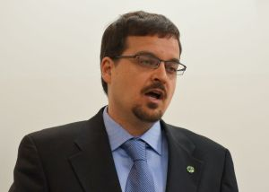 April 13, 2015: Wolseley Green Party candidate explains the dangers posed by the proposed Energy East Pipeline at a news conference in Winnipeg.