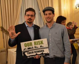 David Nickarz and Leader James Beddome at the Energy East - Our Risk, Their Reward talk at the Fort Garry Hotel, April 11, 2015.
